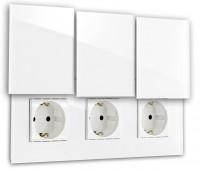 Weiße dreifach Steckdose 3-fach mit Abdeckung, Klappe in der Farbe: ALL WHITE ® von Farrow & Ball Nr.: 2005.