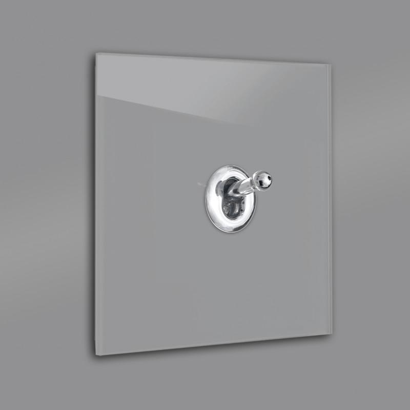 Lichtschalter Retro - viele Varianten. Braun Grau Glas Luxus mit hochwertigem modernem Chrom Designer Kipphebelschalter von ROHDE+ROHDE