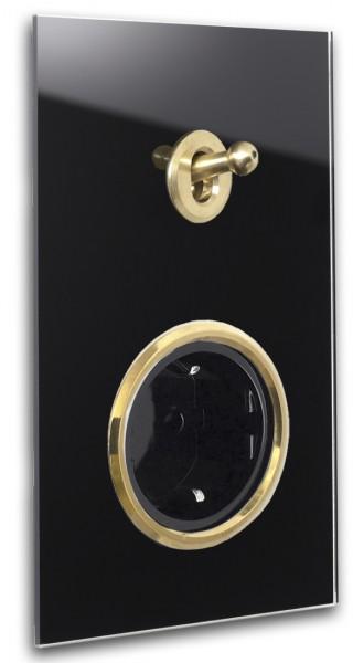Schwarze ROHDE+ROHDE 1-fach Retro-Lichtschalter-Steckdosen-Kombination mit MESSING-Kipphebel in der Farbe: PITCH BLACK ® von Farrow & Ball Nr.: 256.