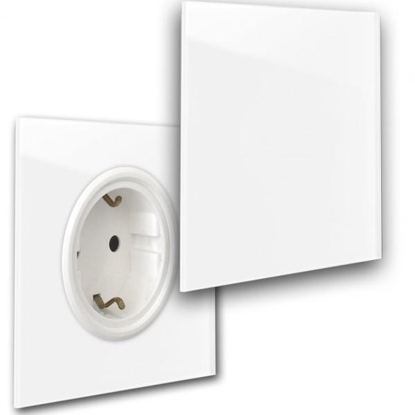 Weiße 1-fach Steckdose mit Abdeckung und Weißer Einfassung in der Farbe: ALL WHITE ® von Farrow & Ball Nr.: 2005.
