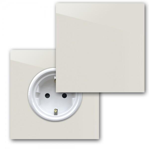 Ecu farbene 1-fach Steckdose mit Abdeckung und Weißer Einfassung in der Farbe: SKIMMING STONE ® von Farrow & Ball Nr.: 241