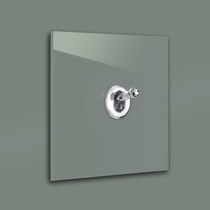 Dunkel-Grüner 1-fach moderner Retro-Lichtschalter mit Silber CHROM Kipphebel in der Farbe: GREEB SMOKE ® von Farrow & Ball Nr.: 47