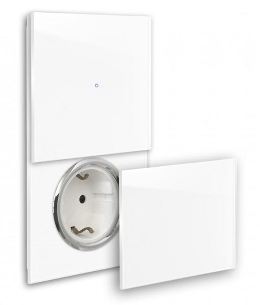 Farbige Touch-Lichtschalter-Steckdosen-Kombination 230V. CHROM Steckdose mit Klappe, Abdeckung. Hochwertig, bunt farbig Farrow & Ball, modern, exklusiv Touchscreen-Schalter. ROHDE+ROHDE