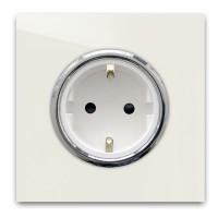 Warm Weiße 1-er Steckdose mit Silber-Einfassung in der Farbe: SLIPPER SATIN ® von Farrow & Ball Nr.: 2004