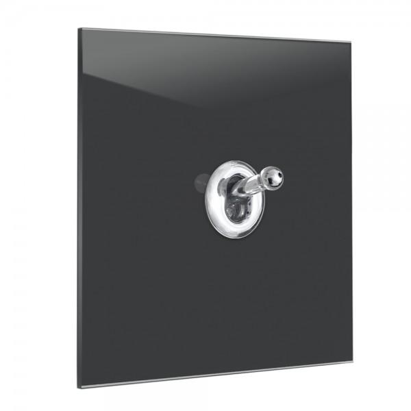 Anthrazit farbener 1-fach Retro-Lichtschalter mit Chrom Kipphebel in der Farbe: RAILINGS ® von Farrow & Ball Nr.: 31