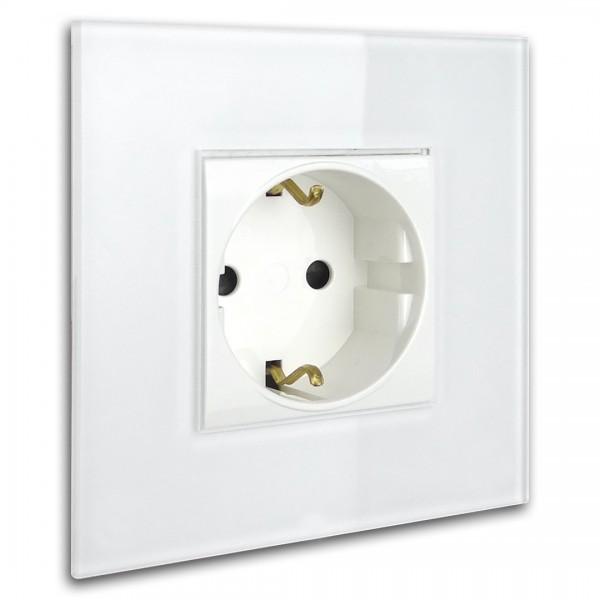 Weiße Steckdose 1-fach. Steckdosen-Rahmen in der Farbe: RAL 9016 Verkehrsweiß