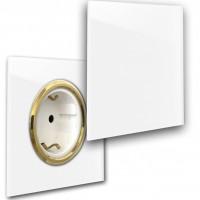 Weiße 1-fach Steckdose mit Klappe und Messing Einfassung in der Farbe: ALL WHITE ® von Farrow & Ball Nr.: 2005.