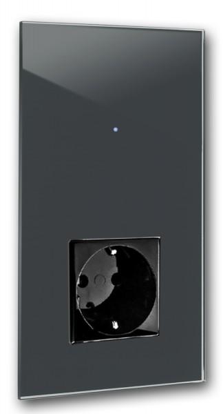 "Dunkel Graue Touch-Lichtschalter-Steckdosen-Kombination 230V 1-fach in der Farbe: DOWN PIPE ® von Farrow & Ball Nr.: 26. ROHDE+ROHDE. ""NOVA Color""."