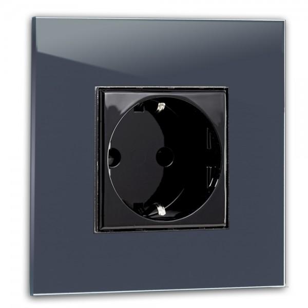 Dunkel-Blaue Steckdose 1-fach. Steckdosen-Rahmen in der Farbe: STIFFKEY BLUE ® von Farrow & Ball Nr.: 281