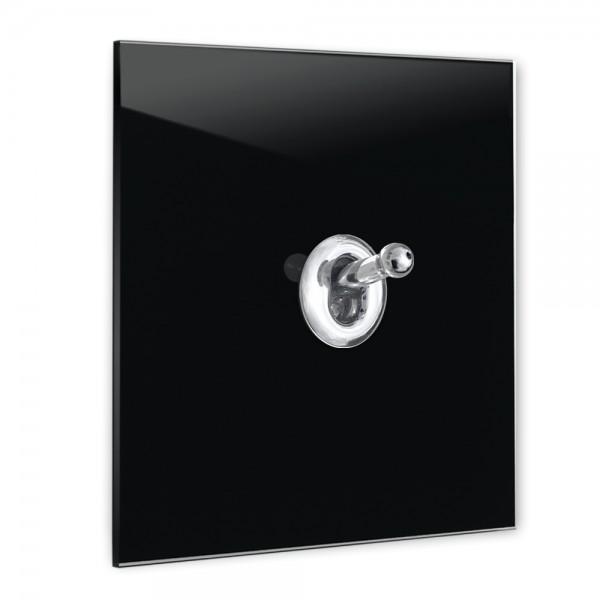 Schwarzer 1-fach Retro-Lichtschalter mit Chrom Kipphebel in der Farbe: PITCH BLACK ® von Farrow & Ball Nr.: 256.