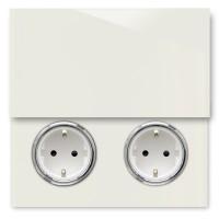 Warm Weiße 2-fach Steckdose mit Abdeckung und Chrom Einfassung in der Farbe: SLIPPER SATIN ® von Farrow & Ball Nr.: 2004