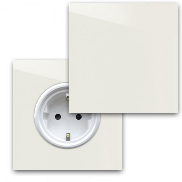 Warm Weiße 1-fach Steckdose mit Abdeckung und Weißer Einfassung in der Farbe: SLIPPER SATIN ® von Farrow & Ball Nr.: 2004