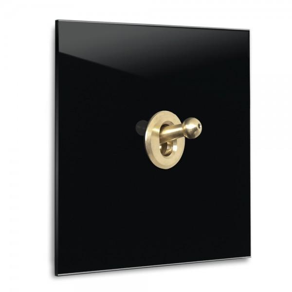 Schwarzer 1-fach Retro-Lichtschalter mit Messing Kipphebel in der Farbe: PITCH BLACK ® von Farrow & Ball Nr.: 256.