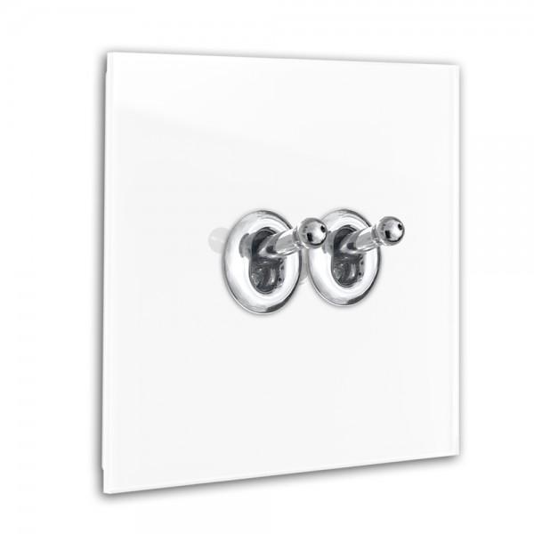 Weißer 2-fach Retro-Lichtschalter mit Chrom Kipphebel in der Farbe: ALL WHITE ® von Farrow & Ball Nr.: 2005.
