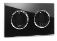 Schwarze Steckdose 2-fach mit Verchromten Zierringen. Steckdosen-Rahmen in der Farbe: PITCH BLACK ® von Farrow & Ball Nr.: 256.