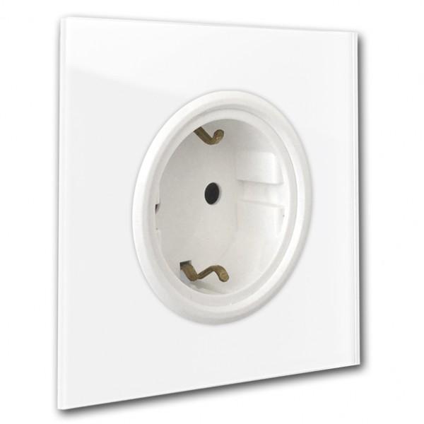 Weiße, schöne Retro 1-fach Designer-Steckdose mit weißer Einfassung in Glas-Optik von ROHDE+ROHDE in der Farbe: Bellevue 316. ANNA von MANGOLDT