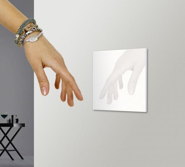 Weißer, moderner, berührungsloser 1-fach Wechsel-Schalter und Kreuz-Schalter von ROHDE+ROHDE in der Farbe: ALL WHITE ® von Farrow & Ball Nr.: 2005.