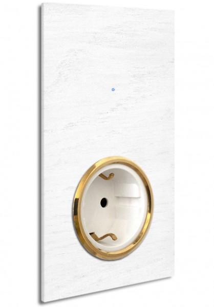 """Weiße Touch-Lichtschalter-Steckdosen-Kombination 230V. 1-fach in der Farbe: All White ® von Farrow & Ball Nr.: 2005. ROHDE+ROHDE. """"NOVA Color""""."""