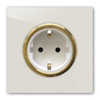 Ecu farbene 1-fach Steckdose mit Messing-Einfassung in der Farbe: SKIMMING STONE ® von Farrow & Ball Nr.: 241
