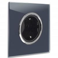Dunkel-Blaue Steckdose 1-fach mit Verchromten Zierringen. Steckdosen-Rahmen in der Farbe: STIFFKEY BLUE ® von Farrow & Ball Nr.: 281