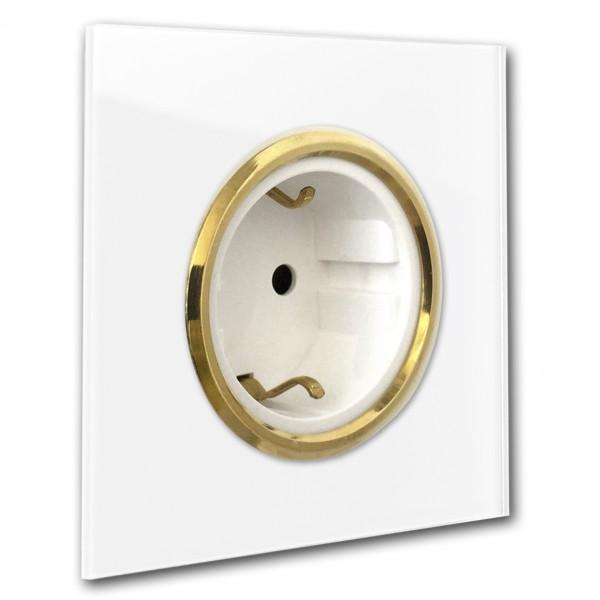Weiße 1-fach Steckdose mit Messing-Einfassung in der Farbe: ALL WHITE ® von Farrow & Ball Nr.: 2005.