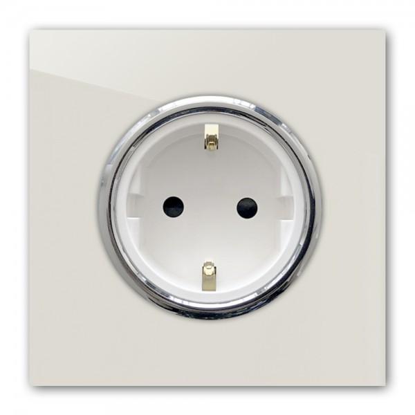 Ecu farbene Steckdose 1-fach mit Verchromten Zierringen. Steckdosen-Rahmen in der Farbe: SKIMMING STONE ® von Farrow & Ball Nr.: 241