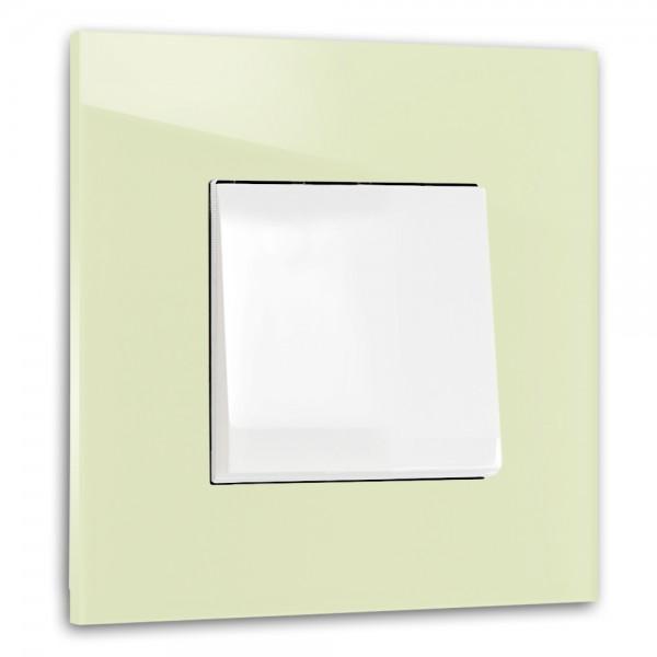 Hell-Grüner, moderner 1-fach Lichtschalter von ROHDE+ROHDE in der Farbe: COOKING APPLE GREEN ® von Farrow & Ball Nr.: 32