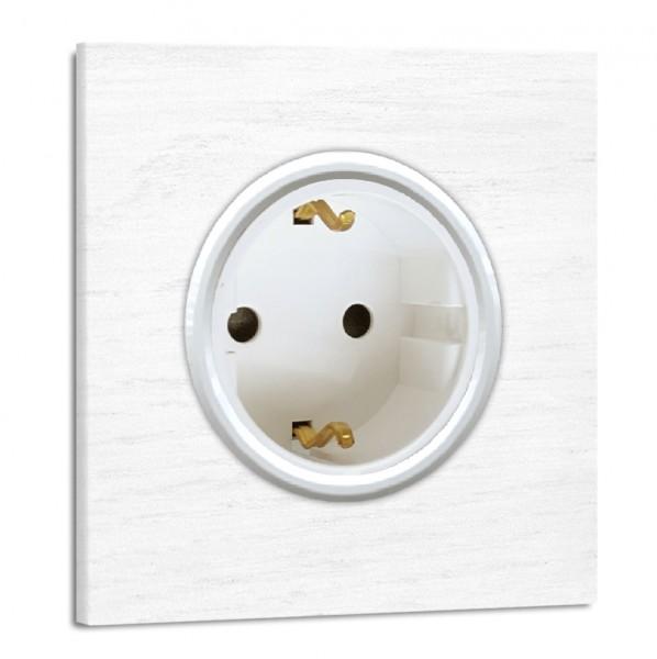 Weiße Steckdose 1-fach. Steckdosen-Rahmen Eichen-Holz lackiert mit weißer Einfassung in der Farbe: RAL 9016 Verkehrsweiß