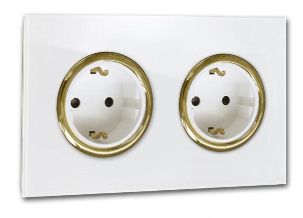 Weiße 2-fach Steckdose mit Messing-Einfassung in der Farbe: ALL WHITE ® von Farrow & Ball Nr.: 2005.
