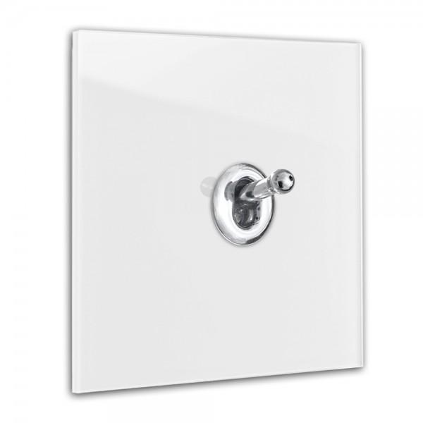 Zart-Grauer 1-fach Retro-Lichtschalter mit Chrom Kipphebel in der Farbe: STRONG WHITE ® von Farrow & Ball Nr.: 2001
