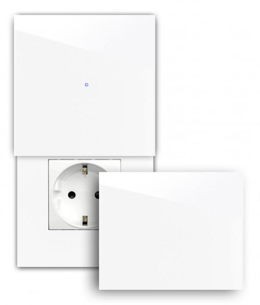 Farbige Touch-Lichtschalter-Steckdosen-Kombination 230V. Steckdose mit Klappe, Abdeckung. Hochwertig, bunt farbig Farrow & Ball, modern, exklusiv Touchscreen-Schalter. ROHDE+ROHDE