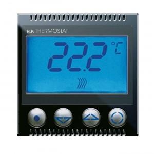 Digitaler Thermostat. Schwarzer Einsatz. Rahmen für Thermostat bitte zusätzlich bestellen.