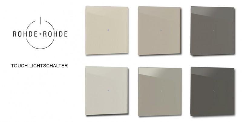 Design-Lichtschalter Braun Beige Touch-screen Berührungsschalter LED beleuchtet von ROHDE+ROHDE