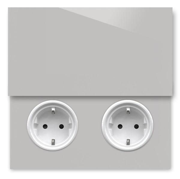 Warm Graue 2-fach Steckdose mit Abdeckung und Weißer Einfassung in der Farbe: DOVE TALE ® von Farrow & Ball Nr.: 267
