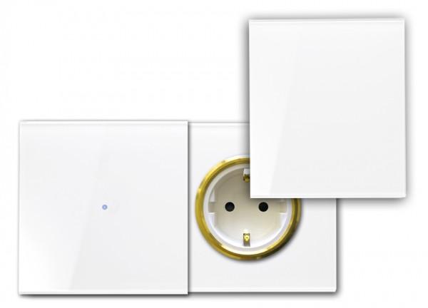 Touch-Schalter - Glas-Optik - 230V - RAL Farben, mit Steckdose, Abdeckung.(G)