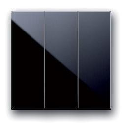 3fach Wechsel-Schalter Einsatz. Schwarz glänzend.