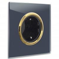 Dunkel-Blaue 1-fach Steckdose mit Messing-Einfassung in der Farbe: STIFFKEY BLUE ® von Farrow & Ball Nr.: 281
