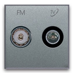 TV-FM/SAT Anschlussdose (2fach). Silberfarben.