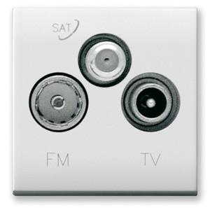 SAT/Kabel FM Anschlussdose (3fach). Weiß glänzend.