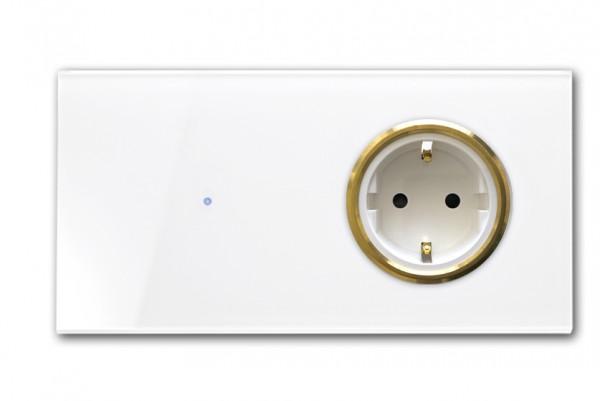 """Touch-Lichtschalter-Steckdosen-Kombination 230V. Waagerecht mit Messing-Einfassung.""""NOVA Color"""""""
