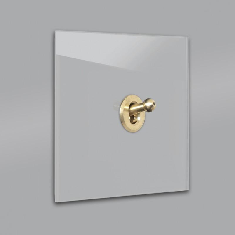 Beton farbener 1-fach moderner Retro-Lichtschalter mit Gold Kipphebel in der Farbe: WORSTED ® von Farrow & Ball Nr.: 284