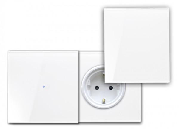 Touch-Schalter - Glas-Optik - 230V - RAL Farben, mit Steckdose, Abdeckung.(W)