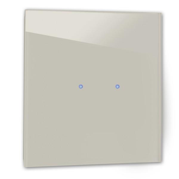 Beiger 2-fach Touch-Licht-Schalter 230V in der Farbe: ELEPHANT`S BREATH ® von Farrow & Ball Nr.: 229