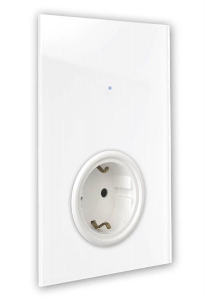 """Weiße Touch-Lichtschalter-Steckdosen-Kombination 230V 1-fach in der Farbe RAL 9016: """"Verkehrsweiß"""", """"Traffic White"""".."""