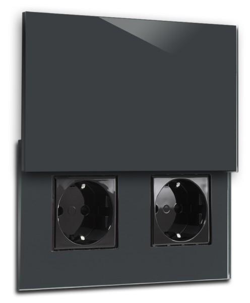 Dunkel Graue Doppel-Steckdose 2-fach mit Abdeckung, Klappe in der Farbe: DOWN PIPE ® von Farrow & Ball Nr.: 26