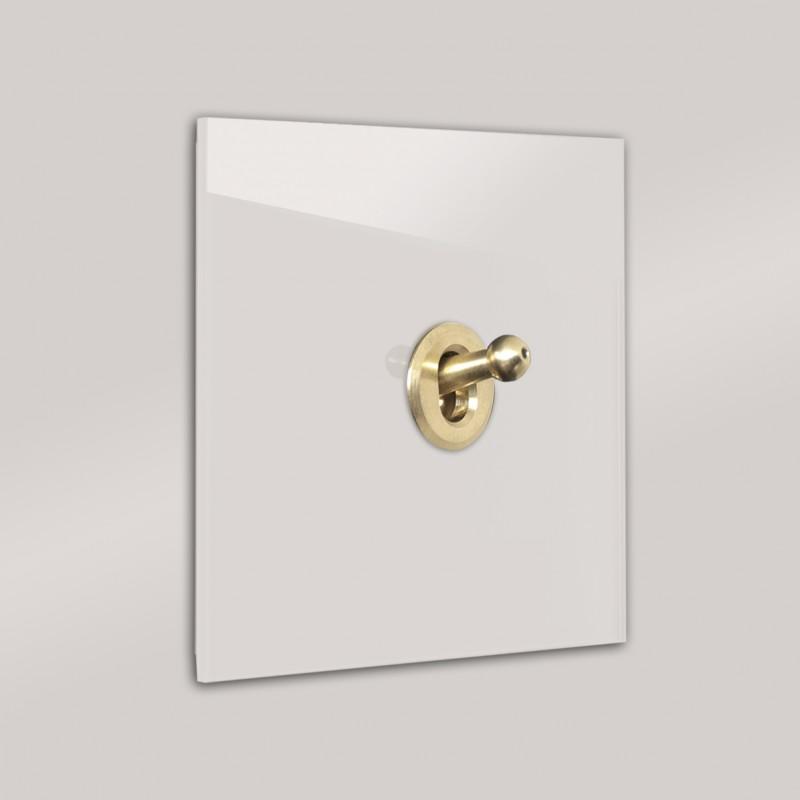 Rosa-Grauer 1-fach moderner Retro-Lichtschalter mit Gold Kipphebel in der Farbe: PEIGNOIR ® von Farrow & Ball Nr.: 286