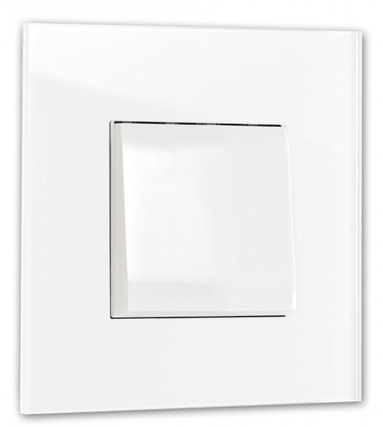 Weißer, moderner 1-fach Lichtschalter von ROHDE+ROHDE in der Farbe: ALL WHITE ® von Farrow & Ball Nr.: 2005.