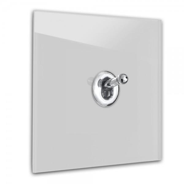 Hell-Grauer 1-fach Retro-Lichtschalter mit Chrom Kipphebel in der Farbe: CORNFORTH WHITE ® von Farrow & Ball Nr.: 228