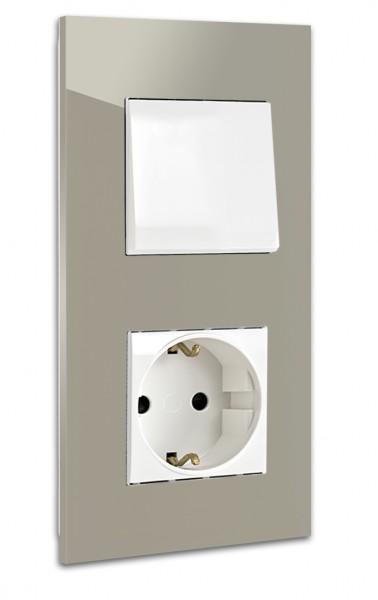 Braune, schöne, moderne ROHDE+ROHDE 1-fach Lichtschalter-Steckdosen-Kombination in der Farbe: CHARLESTON GRAY ® von Farrow & Ball Nr.: 243