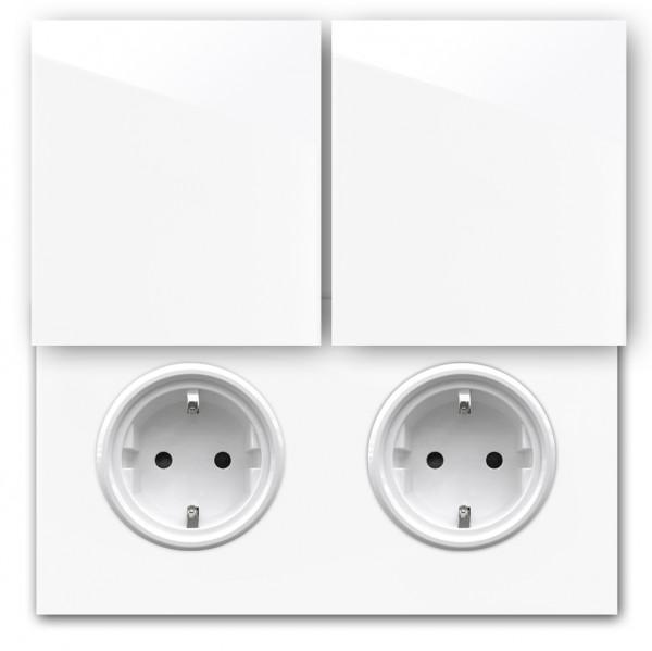 Weiße 2-fach Steckdose mit Abdeckung und Weißer Einfassung in der Farbe: ALL WHITE ® von Farrow & Ball Nr.: 2005.